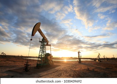 Pumpjacks, the sunset of Daqing oil field