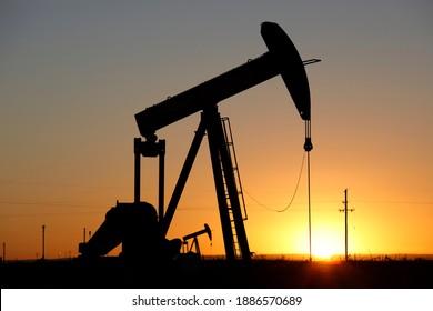 Pumpjacks, the sunset of New Mexico oil field, shot near Carlsbad.