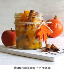 pumpkin apple chutney with raisins and cinnamon - Shutterstock ID 494784568