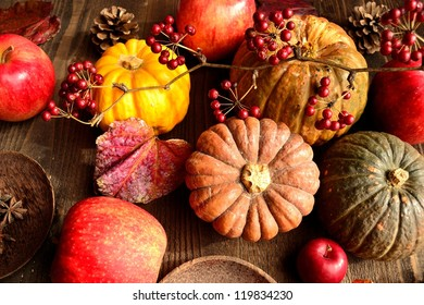 Pumpkin with apple.image of autumn and winter