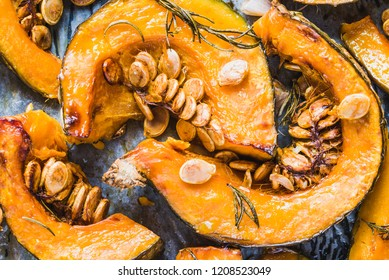 Pumpkin baked.Slices of roasted pumpkin autumn healthy food.