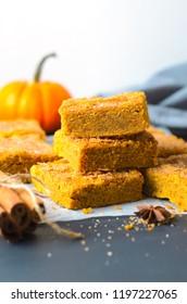 Pumpkin Bars with Cinnamon Sugar Crust, Freshly Baked Spiced Pumpkin Blondies