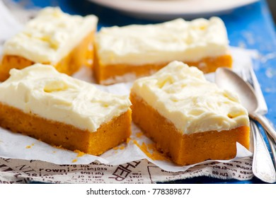 Pumpkin Bars with cream cheese fristing.selective focus