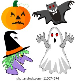 Pumpkin, bat, witch and ghost.  Cartoon Halloween decorations for the holiday trick or treaters.