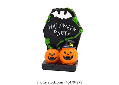 Pumpkin with black cement pedestal Halloween party decoration on white background with clipping path (isolated)