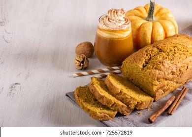 Pumpkin bread cake with pumpkin latte for autumn fall dinner