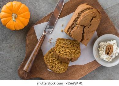 Pumpkin Bread with Honey Walnut Butter