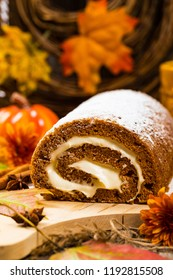 Pumpkin Cake Roll with Cream Cheese Filling. Selective focus.