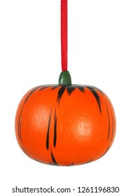 Pumpkin as Christmas tree decoration isolated on white background