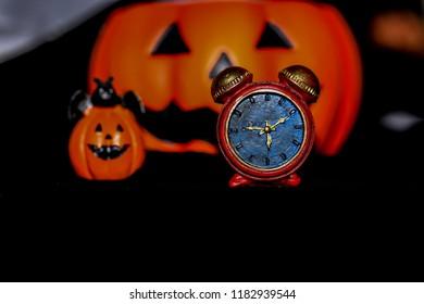 Pumpkin clock on Halloween night
