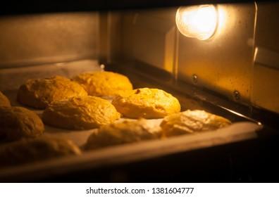 Pumpkin cookies in the oven