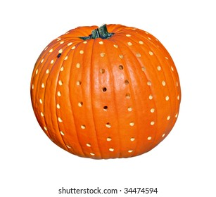 A pumpkin decorated for an autumn party. Pumpkin has fly on surface. File has clipping path