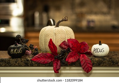 Pumpkin decorations with Hocus Pocus writing and poinsetta for fall decorations and Halloween