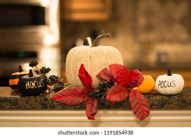 Pumpkin decorations with Hocus Pocus writing and poinsetta for fall decorations and Halloween decor surrounded by small pumpkins