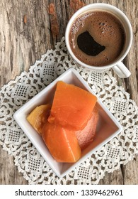 pumpkin dessert and coffee on table