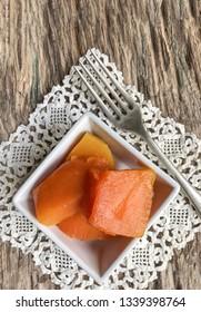 Pumpkin dessert on table