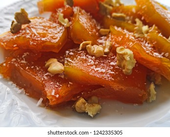 Pumpkin dessert with sugar, pecan