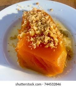 Pumpkin dessert with walnut