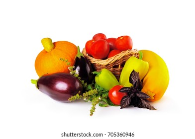 Pumpkin, eggplant, pepper, tomato and other vegetables on a white background.