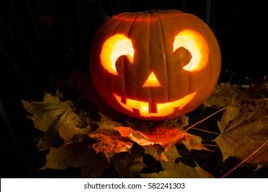 Pumpkin with a face / halloween