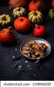 Pumpkin gnocci with wild mushroom..style rustic.selective focus.