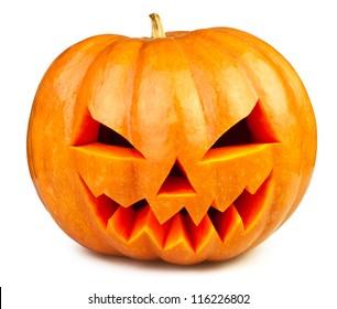 pumpkin halloween Jack O'Lantern isolated white
