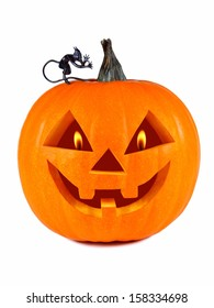 Pumpkin, halloween, old jack-o-lantern on white background with flames in the eyes, and the figure of the Devil