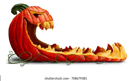 Pumpkin halloween promotion as a blank sign as a spooky orange character with jack o lantern teeth as an advertising and marketing message on a white background with 3D illustration elements.