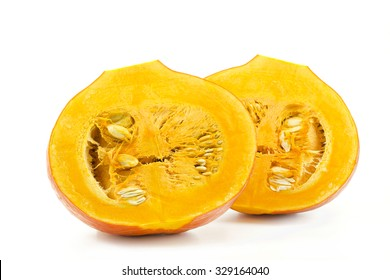 Pumpkin halves isolated on white background