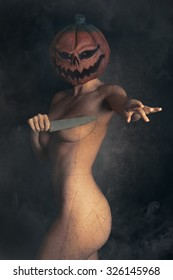 Pumpkin Head Woman with Knife