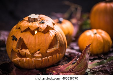 Pumpkin lantern with scary face carved,Halloween party