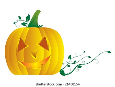 pumpkin with leaf and branch on white background