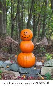 Pumpkin man in the woods