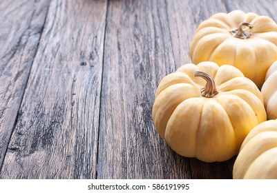 Pumpkin on a wooden table Selective focus