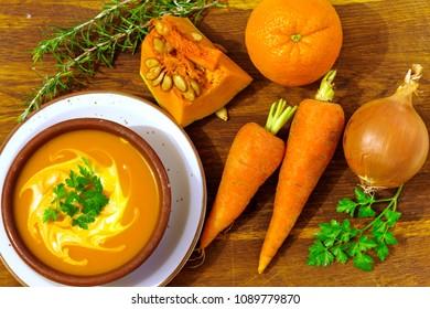 Pumpkin, orange and carrot soup
