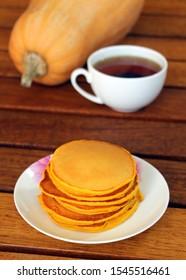 Pumpkin pancakes. Bakery products. Stack. Watermelon. Pumpkin. Vitamins Autumn dishes.