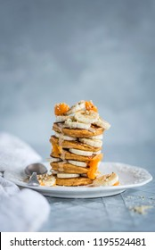 Pumpkin Pancakes with Bananas & Honey for Autumn (Fall)