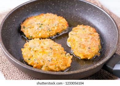 Pumpkin Pancakes With Yogurt Sauce in a frying pan. Vegetable fritters