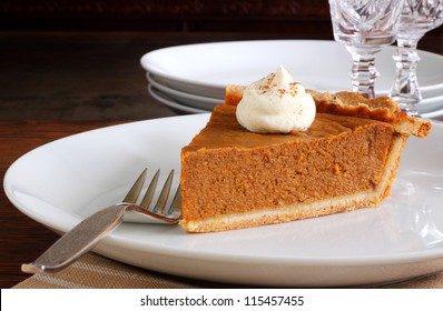 Pumpkin pie dessert for Thanksgiving or Christmas