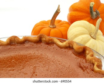 pumpkin pie with mini pumpkins