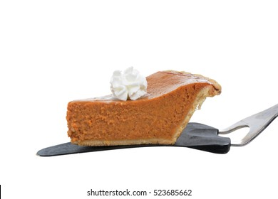 pumpkin pie slice isolated on white background