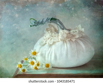 Pumpkin Pillow and Daisies Still Life