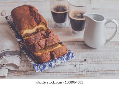 pumpkin pound cheesecake cake with coffee