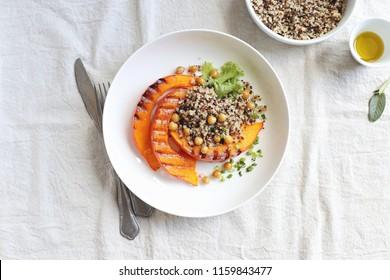 Pumpkin, Quinoa, Chick pea. Plant based, Super food, Clean eating, Vegetarian