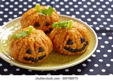Pumpkin Rice Ball Jack O Lanterns pour la fête d'Halloween