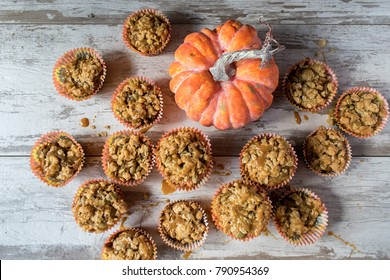 Pumpkin seed treats with Halloween decorations top view