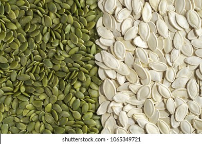Pumpkin seeds green and unpeeled, top view. Food background