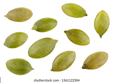 Pumpkin seeds isolated on white, top view