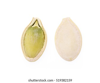 Pumpkin seeds isolated on the white backgroundc