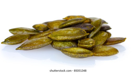 pumpkin seeds isolated on white
